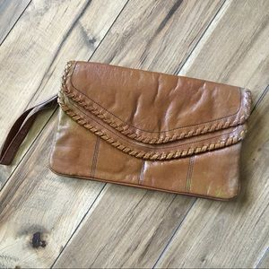 Vintage 70s Tan Braided Clutch Wristlet